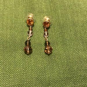 Swarovski crystal drop earrings amber/brown